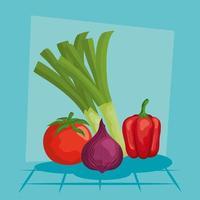 puerro cebolla pimiento y tomate diseño vectorial vector