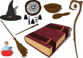 Wizarding and witchcraft magic items collection vector illustration