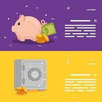 set of strongbox with piggy bank and coins vector