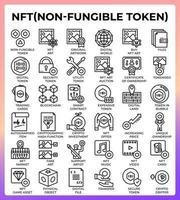 NFT Non fungible token icons set vector
