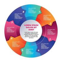 Colorful Gradient Circle Process Infographic Charts vector