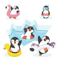 Happy penguin characters in inflatable ring vector