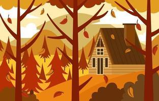 Autumn Scenery of Cabin on Mountainous  Landscape vector