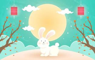 Mid Autumn Festival Background with Rabbit Character vector