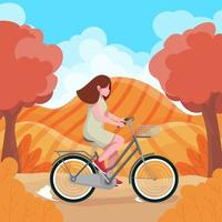 Woman Biking Against Hill as the Background vector