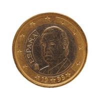 Moneda de 1 euro, unión europea, españa aislado sobre blanco foto