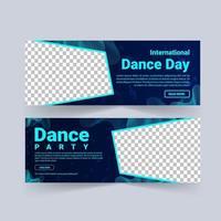 Plantilla de publicación de redes sociales para el día internacional de la danza. vector