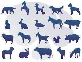 colección de silueta de animales con logo vector