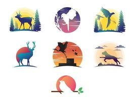 Animals Silhouette Collection With Logo vector