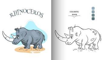 carácter animal rinoceronte divertido en la página para colorear de estilo de dibujos animados. vector