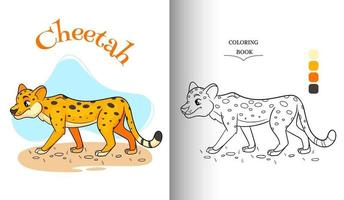 Animal character funny cheetah in cartoon style coloring page. vector