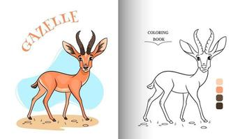 Gacela divertida de carácter animal en la página para colorear de estilo de dibujos animados. vector