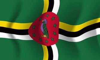 Background waving in the wind Dominica flag. Background vector