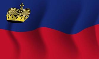 Background waving in the wind Liechtenstein flag. Background vector