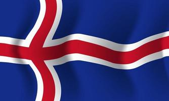 Background waving in the wind Iceland flag. Background vector