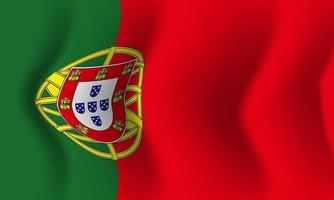 Background waving in the wind Portugal flag. Background vector