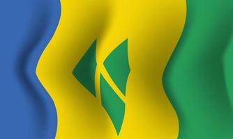 Background waving in the wind St. Vincent Grenadines flag. Background vector