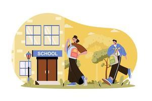 los niños van a la escuela ilustración web vector
