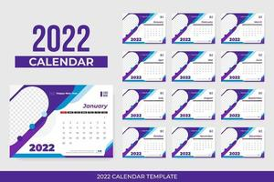Colorful 2022 calendar with frame vector