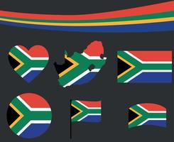 South Africa Flag Map Ribbon Heart Icons Vector Illustration Abstract