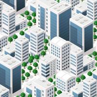 Isometric landscape structure of city buildings, skyscrapers, streets vector