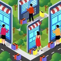 Ilustración de stock conceptual de la tienda online de comercio electrónico para internet vector