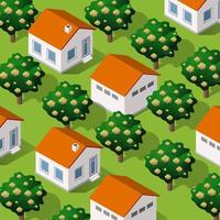 Rural isometric ranch farm with trees fields. Illustration for design vector