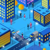 The night city people background 3D neon ultraviolet vector