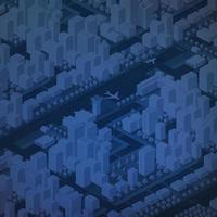 Isometric 3d downtown city block district part of the city vector