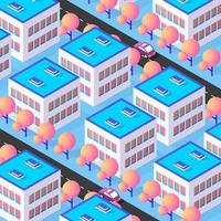 Isometric 3d street downtown architecture district part vector
