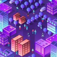 The night smart city people background 3D future vector