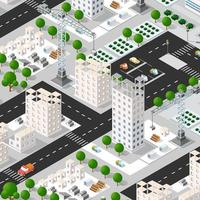 Isometric 3D illustration of the urban building with multiple vector