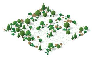 Nature forest landscape of isometric illustration vector