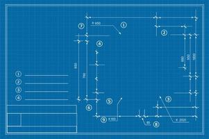 Template drawing plan scheme with dimensions, strings vector