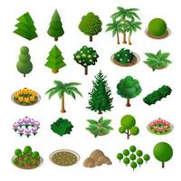 Set Isometric 3d trees forest nature elements white background vector