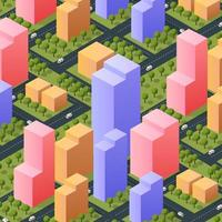 Isometric 3d street downtown architecture district part of the city vector