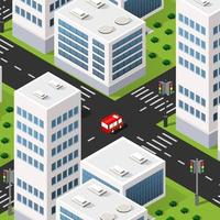 Isometric 3d downtown city block district part of the city with vector