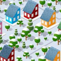Winter Christmas landscape snow covered the futuristic isometric city vector