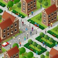 Isometric people walking on the street cross the road vector