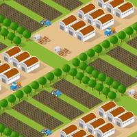 Rural isometric ranch farm with trees fields and garden vector
