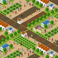 Rural isometric nature ecological farm with beds vector