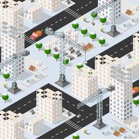 Isometric 3D illustration of the urban building with multiple house vector