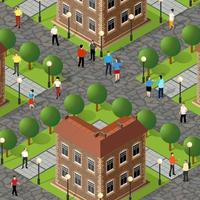 Isometric street people crossroads 3D illustration of a city vector