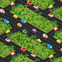 Highway carspark Isometric forestry landscape green view projection vector