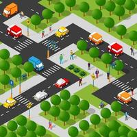 Isometric people lifestyle communication in an urban environment vector
