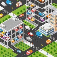 tráfico transporte ciudad estacionamiento garaje estacionamiento para transporte vector