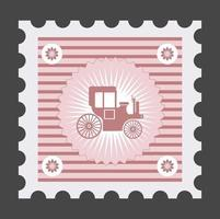 Old postage stamp with the image of vehicles vector