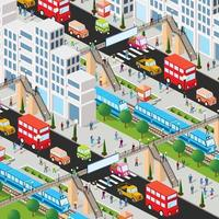 Railway station with train and people 3d vector