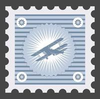 Old postage stamp with the image of airplane vector
