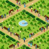 People walk in the park alleys trees city isometric vector